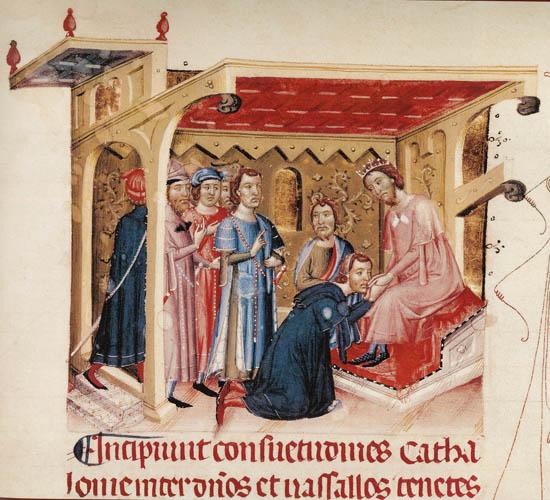 Jurament de fidelitat dels vasalls a Jaume I. Miniatura del 'Llibre verd' de Barcelona, s. XIV