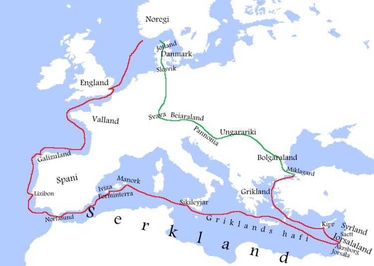 Recorregut seguit pels croats noruecs. Marcat en vermell, el camí d'anada, i en verd, el de tornada