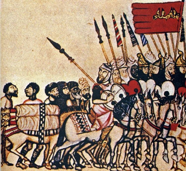 Miniatura representant l'exèrcit almohade