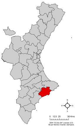 Marina Baixa respecte del País Valencià